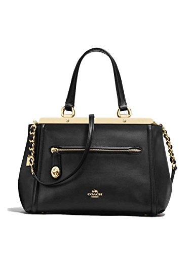 Coach F38260 Lex Satchel Smooth Black Leather Gold-Tone Hardware Handbag by Coach