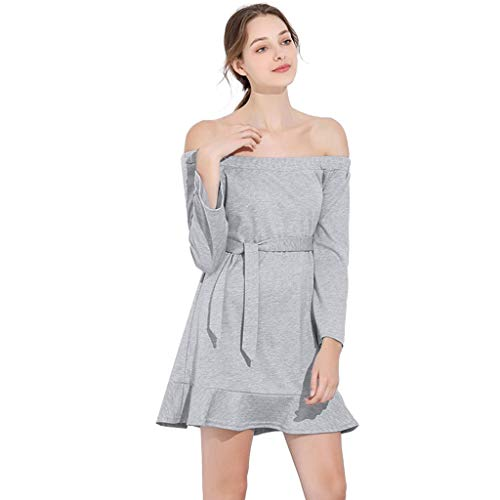 Shoulder Line Hanger - Women Dress Off The Shoulder One Word Collar Long Sleeve Bow Mini Dress Casual Pure Color A-Line Skirt Sashes Blouse