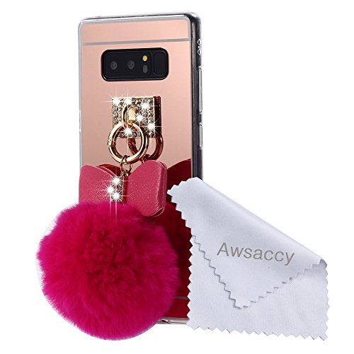 Galaxy Note 8 Mirror Case with Fur Ball for Girls, Awsaccy(TM) Lovely Cute 3D Bowknot Fluff Fluffy Ball Pom Pom Shiny Crystal Bling Keychain Mirror Design TPU Case for Galaxy Note 8 Hot Pink
