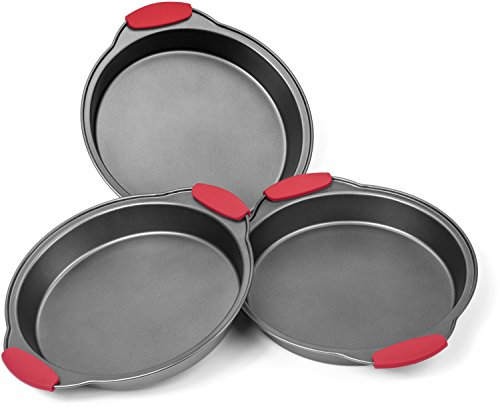 Elite Bakeware 3 Piece NonStick Cake Pans Set with Silicone Handles - Easy Release Non Stick Coating - Wide Round Ends For Easy Handling - Commercial Grade Baking Pans For All Cakes (Down Cake Chocolate Upside German)