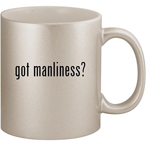 (got manliness? - 11oz Ceramic Coffee Mug Cup, Silver)