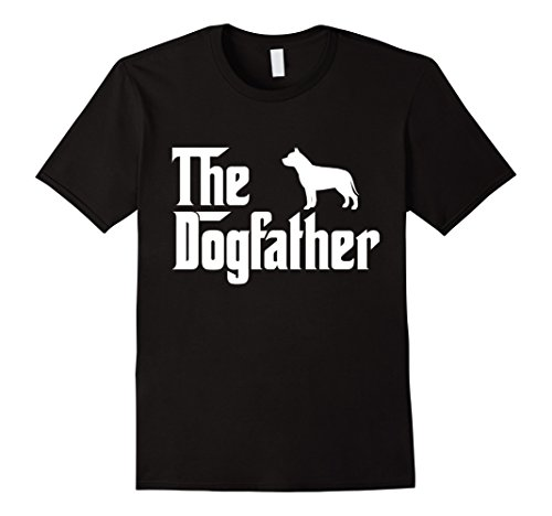 Mens The Dogfather Pit bull T-Shirt Funny Father Dog Lover Gift Large Black (Pit Bull Nose Red Puppies)