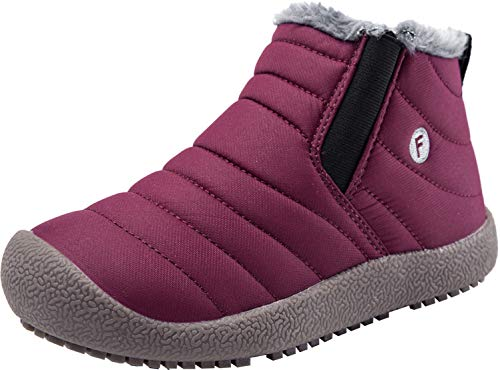 JINKUNL Kids Winter Warm Snow Boots Outdoor Fur Lined Waterproof Ankle Booties Sneakers Shoes for Girls Boys (2 M US Little Kid, Wine Red_)