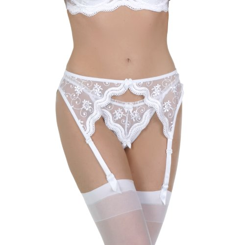 Scalloped embroidered open thong