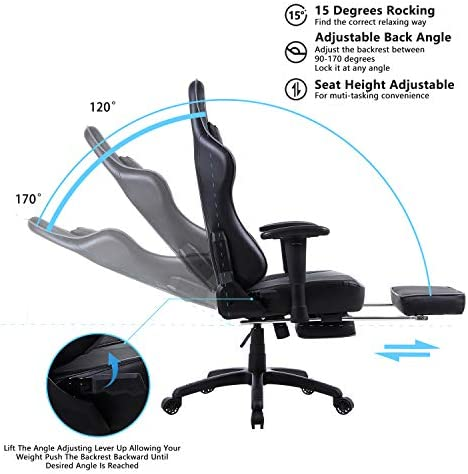 Dowinx Gaming Chair Ergonomic Office Recliner for Computer with Massage Lumbar Support, Racing Style Armchair PU Leather E-Sports Gamer Chairs with Retractable Footrest Grey 41ILsFw70IL
