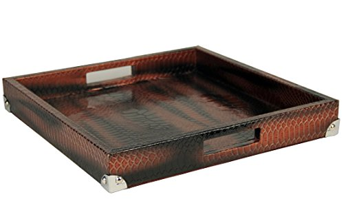 WOOSAL Home Kitchen Decorative Tray Square Snake Leather Serving Tray with Handles for Bed Ottomans Sofa Coach(Coffee Red)
