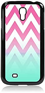 Pink Chevron with Blue Fusion Colorblock- Case for the Galaxy S4 i9500 -Hard Black Plastic Case