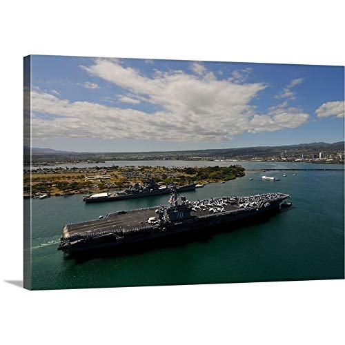 GREATBIGCANVAS Gallery-Wrapped Canvas Entitled USS Carl Vinson Passes The USS Missouri Memorial in Pearl Harbor by Stocktrek Images 18