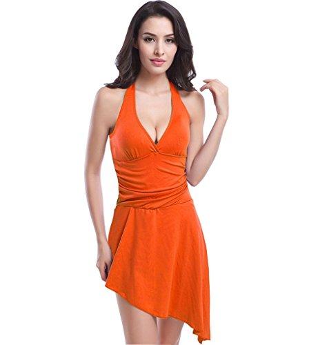 UDreamTime Para Señora del traje de baño de una pieza de la falda del vestido de la cubierta Swim Up Naranja