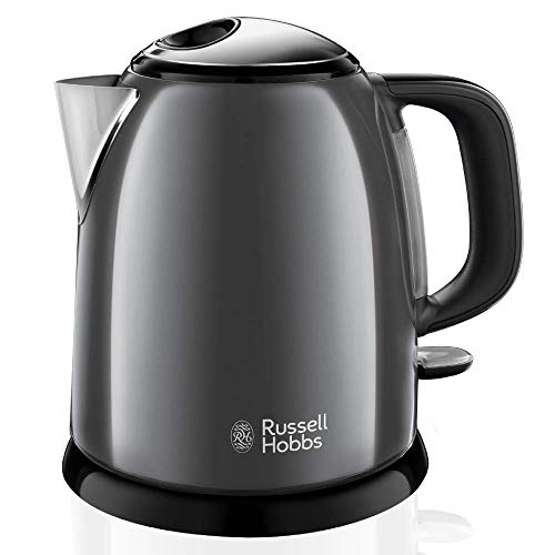 Russell Hobbs Colours Plus - Hervidor de Agua Electrico Pequeno (2400 W, Hervidor de 1l, Kettle Inox, Gris Oscuro) - ref 24993-70