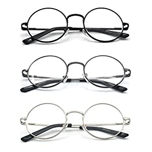 Eye-Zoom® 3 Pack Metal Frame Round Reading Glasses with Spring Hinge (Black, Silver and Gunmetal, +2.50 Strength)