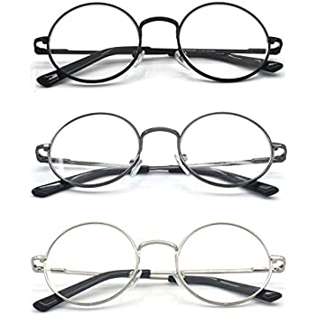 4b64282d0e Eye-Zoom® 3 Pack Metal Frame Round Reading Glasses with Spring Hinge (Black