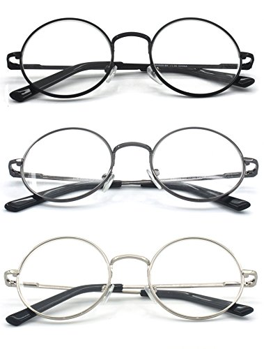 Eye-Zoom® 3 Pack Metal Frame Round Reading Glasses with Spring Hinge (Black, Silver and Gunmetal, +3.50 - With Glasses Harry Styles