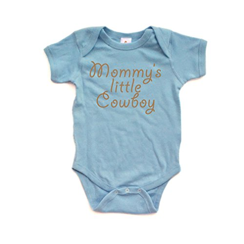Apericots Mommy's Little Cowboy Adorable Cute Baby Soft Cotton Country Western Boy Creeper (6 Months, Light Blue)