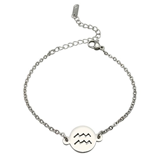 JJTZX Zodiac Signs Necklace&Bracelet Stainless Steel Cut Out Charm Bracelet&Necklace Simple Birthday Gift (Aquarius B) (Sign Zodiac Bracelet)