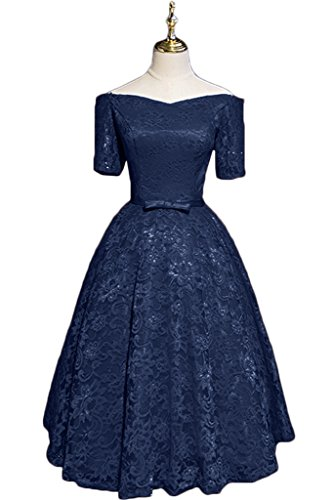 Partykleid Promkleid Kurz Kurz Festkleid Damen Abendkleid Aermel Ivydressing Spitze Dunkelblau A Elegant Linie 41qw8U