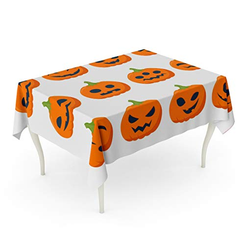 Tarolo Rectangle Tablecloth 60 x 84 Inch Orange Cute Funny Halloween Pumpkins Simple Flat Scary Eyes Evil Autumn Black Table Cloth -