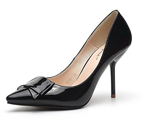 Aalardom Mujeres Soft Material Solid Kitten-heels Pointed-toe Pumps-Zapatos Con Bowknot Black-bow-tie