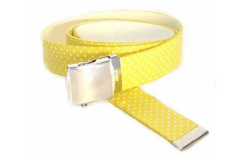 Men's Military Style Belt With Polka Dots And Silver Buckle Yellow