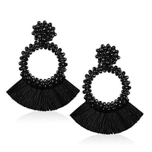 Tassel Bead Statement Earrings for Women Girls Handmade Bohemian Beaded Hoop Round Thread Fringe Dangle Trendy Party Studs Jewelry Accessories Gift for Daughter with Gushion Present Box GUE130 Black