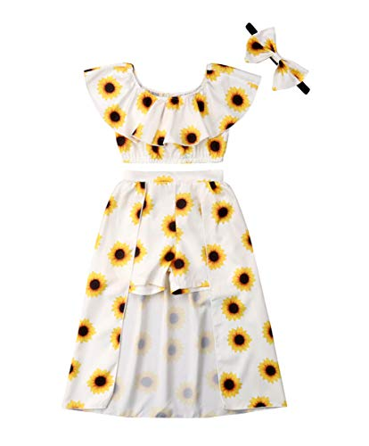 3PCs Toddler Kid Girl Sunflower Print Off Shouder Crop Top + Pant Skirt + Bowknot Headband (Yellow, 2T)