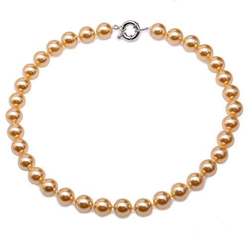JYXJEWERLRY Fashion Women 12mm Yellow Round Seashell Pearl Necklace for Girls