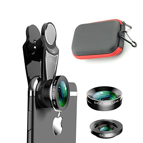 SMILEPOWO 3 in 1 HD Camera Lens Kit Phone Lens - Universal 0.63X Wide Angle Lens & 15X Macro Lens & 198 Degree Fisheye Lens, Clip on Cell Phone Lens for iPhone,Samsung,Android Phones
