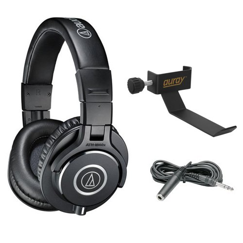 Audio-Technica ATH-M40x Monitor Headphones (Black) with COHH-2 Clamp On Headphone & Extension Cable