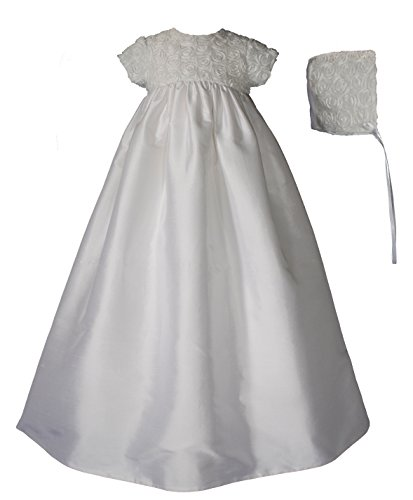 Dupioni Silk Christening Gown with Rosette Bodice (0-3 month)