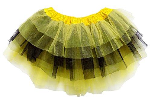 So Sydney Adult Plus Kids Size 6 Layer Fairy Tutu Skirt Halloween Costume Dress (L (Adult Size), Yellow & Black) -