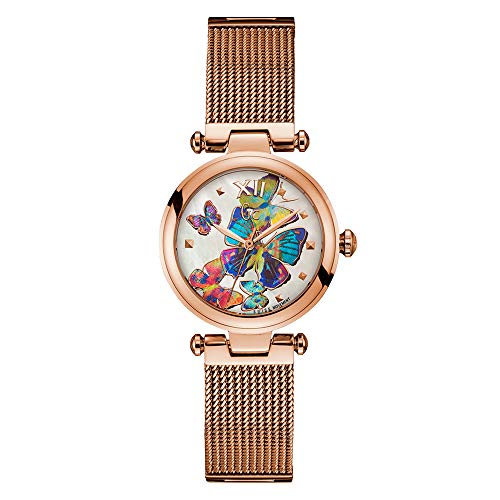Guess Collection Purechic Women, Stainless Steel Rose Gold Case and Strap, Multi-Colored Butterfly Dial, Swiss Watch, Y31011L1