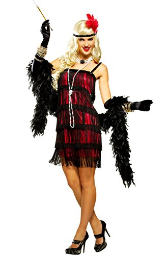 Mememall Fashion Fifth Avenue Flapper Adult Halloween Costume (Red) (Deluxe Flapper Girl Costume)