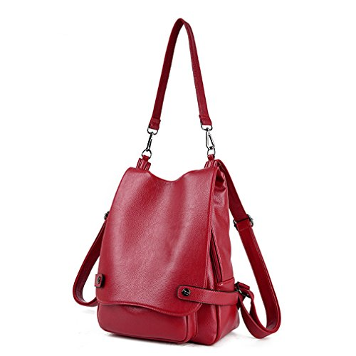 Montmo Womens  Girls Casual Leather Backpack Purse Satchel Shoulder School Bags for College (Red)