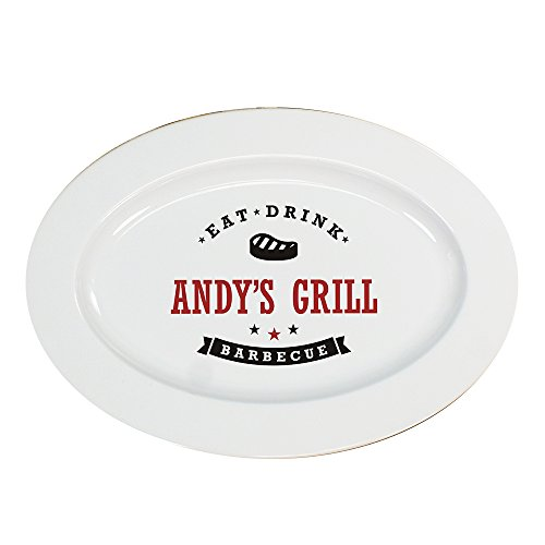 Personalized Bbq Platter (GiftsForYouNow Eat, Drink, Barbecue Personalized Platter, Steak Design)