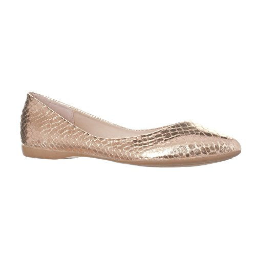 Riverberry Women's Ella Basic Closed Pointed Toe Ballet Flat Slip On Shoe, Gold Snake, 7.5