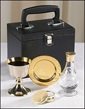 Chalice Paten Pyx Holy Water Bottle Carrying Case Minister Traveling Mass Kit -