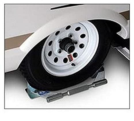 RV remolque adnik para uso con solo eje neumático plata rueda Chock: Amazon.es: Coche y moto