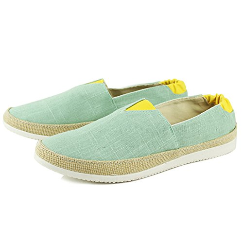 Angelliu Heren Casual Canvas Slip-on Zomer Lente Doug Lui Schoenen Loafer Flats Groen