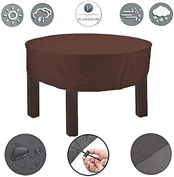 Planesium - Funda protectora para mesa redonda de jardín (resistente a rasguños, transpirable, impermeable, 175 x 15 cm), color marrón: Amazon.es: Jardín