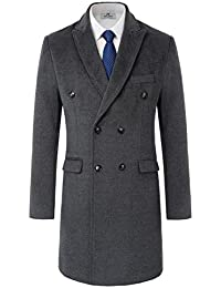Mens Trench Coat Double Breasted Long Jacket Winter Overcoat