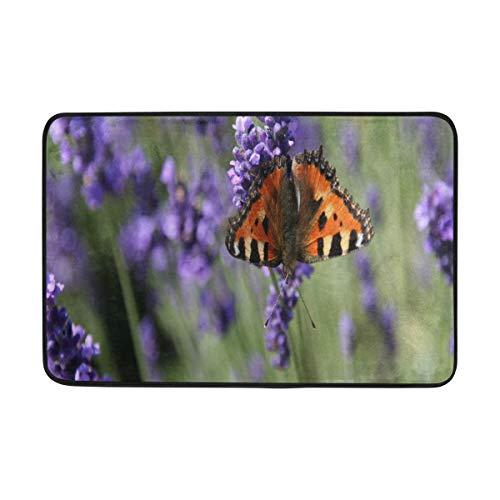 BathMat Butterfly On Lavender Doormat Indoor Outdoor Entrance Floor Welcome Mats Bathroom Rug