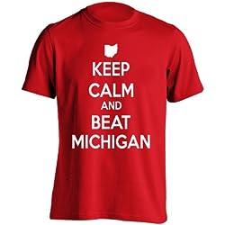 Keep Calm Beat Michigan State of Ohio Football Funny Anti Hate M Go Bucks Mens Shirt X-Large Red
