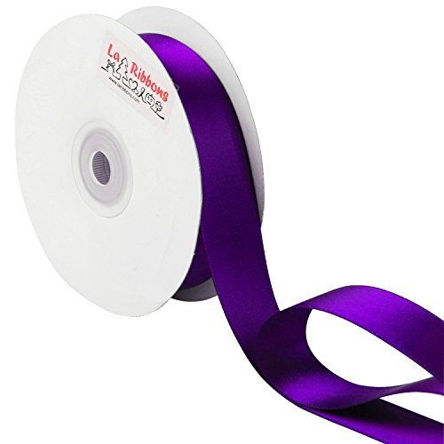 LaRibbons 1 inch Wide Double Face Satin Ribbon - 25 Yard ( 465-Purple )