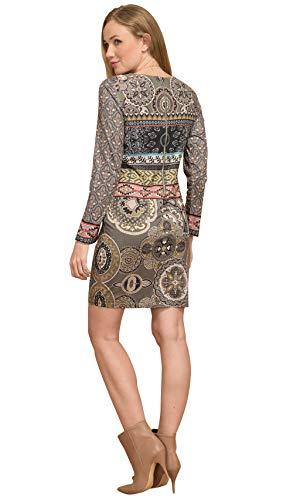 mujer con estampado para 101 Vestido de de caqui manga Idees larga 4IxtxvS