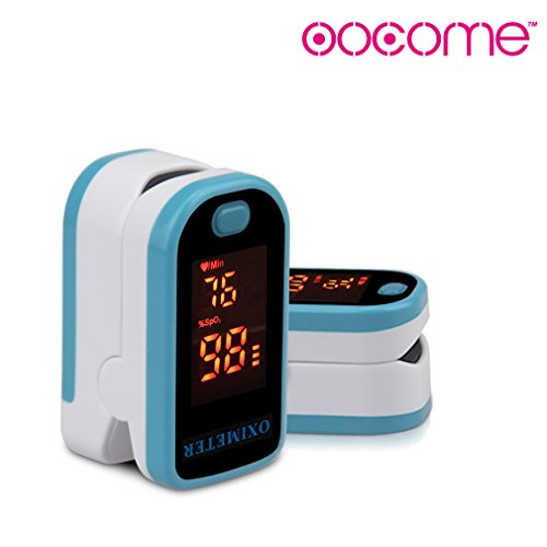 OOCOME Fingertip Pulse Oximeter LED Display Digital Portable Blood Oxygen with Lanyard Blue by OOCOME