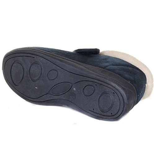 Tøfler Borrelås Passform Dunlop Fleece Bred Foret Kvinners Marineblå TSxqwY4F