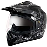 Vega Off Road OR-D/V-SKT-KS_M Sketch Full Face Graphic Helmet (Black and Silver, M)(Size : 57-59cms)