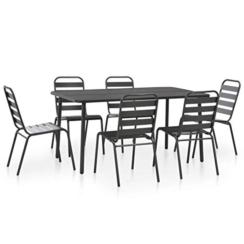 (Festnight 7 Piece Outdoor Bistro Set Powder-Coated Steel Table with 6 Slatted Design Stacking Chairs Dining Set Breakfast Kitchen Bar Pub Garden Backyard Patio Indoor Outdoor Furniture)