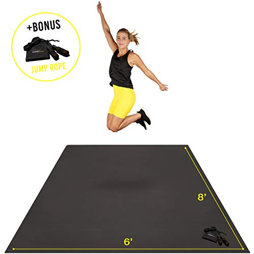 Premium Extra Large Exercise Mat 8′ x 6′ x 7mm | Ultra-Durable Non-Slip Rubber Workout Mat for Home Gym Floor | Ideal for Cardio, Fitness, Plyo, MMA and Yoga | Bonus Jump Rope and Storage Bag Included