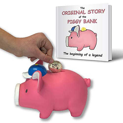 Bizzy Bees Cute Piggy Bank and Kids Book Set for Boys or Girls | Coin Holder and Story with Video - Powerful Lesson for Success